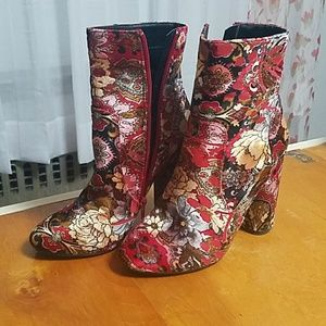 Shoes - Velour Floral Booties